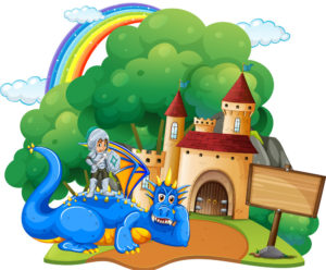castle-scene-with-knight-and-dragon-vector-16950914